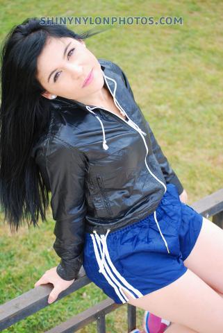 Shiny nylon darkblue shorts and shiny nylon vintage jacket