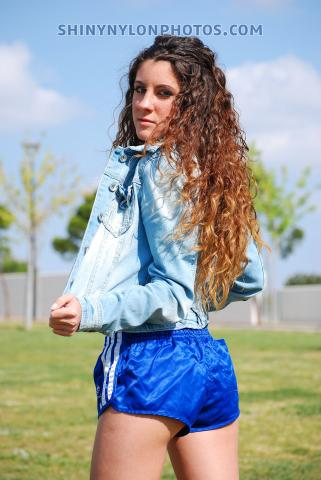 PHOTOSET 270| Shiny nylon blue shorts and blue jeans jacket