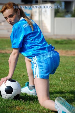 Light blue adidas nylon shorts