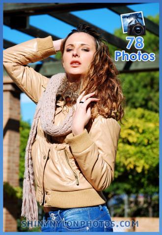 Shiny nylon brown jacket
