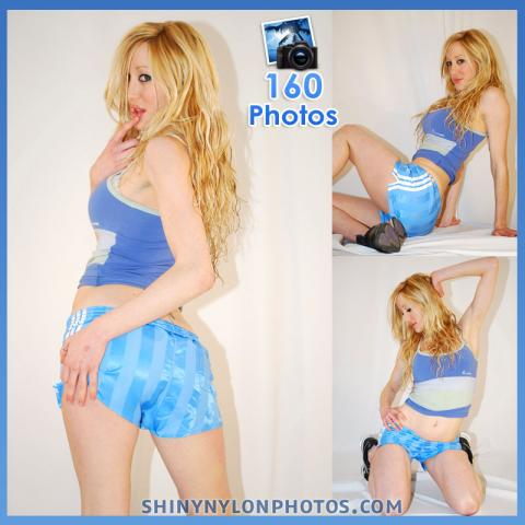 Light blue adidas nylon shorts and blue top