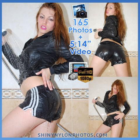 WETLOOK in Black very shiny nylon shorts and black nylon jacket