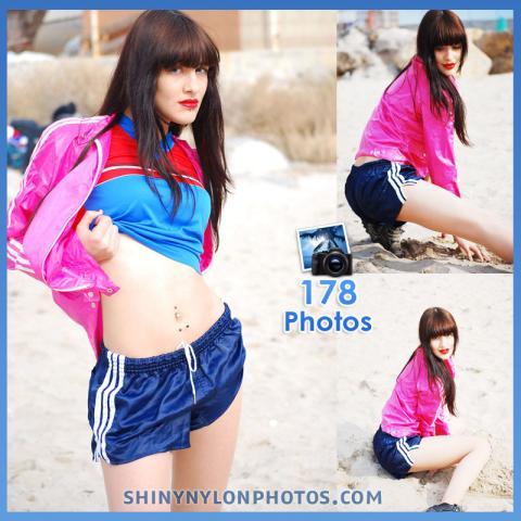 Navy blue nylon shorts and pink jacket