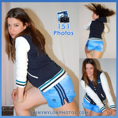 Light blue nylon shorts and jacket