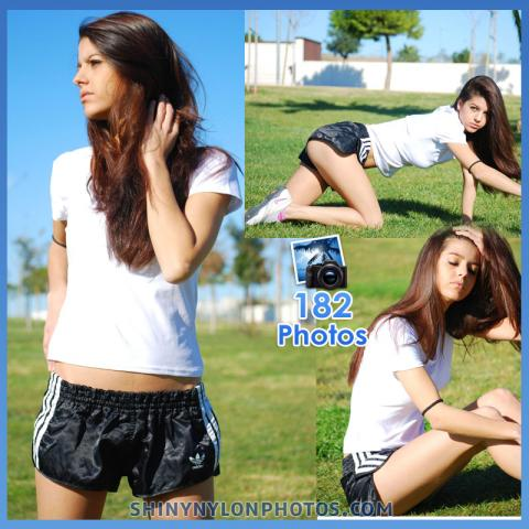 Black adidas nylon shorts and white t-shirt