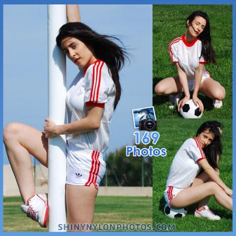 White adidas nylon shorts  and white t-shirt