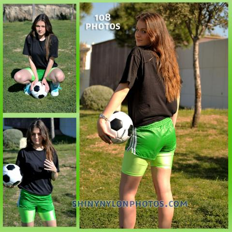 Green nylon shorts and green Lycra shorts