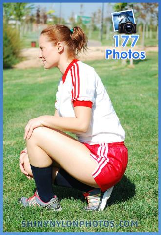 PHOTOSET 158 | Red Adidas nylon shorts and white t-shirt