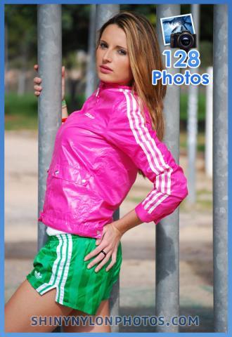Green nylon shorts and pink nylon jacket