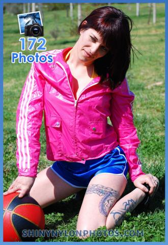 blue nylon shorts and pink jacket