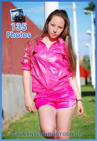 Pink nylon shorts and pink jacket
