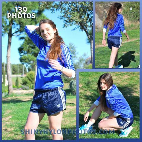 Navy blue nylon shorts