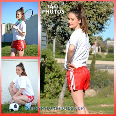Red Adidas nylon shorts