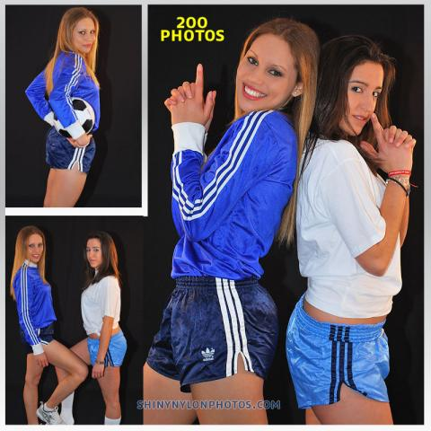 Navy blue and Light blue nylon shorts