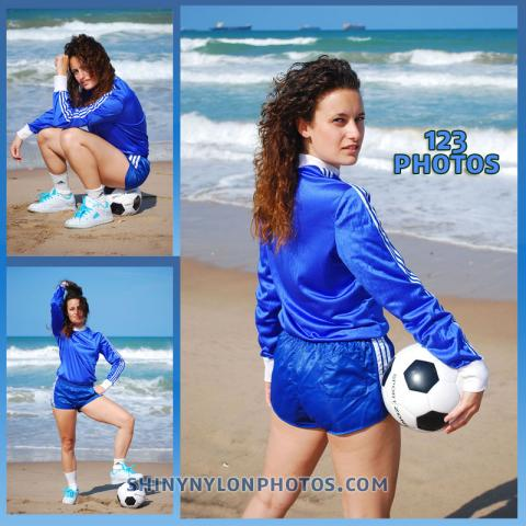 Blue nylon Sprinter shorts and blue soccer t-shirt.