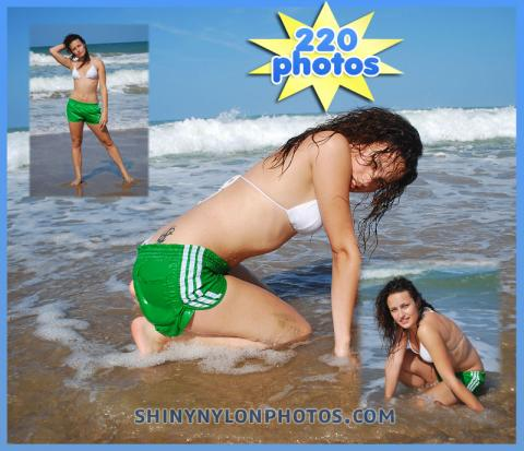 Wetlook in green nylon shorts