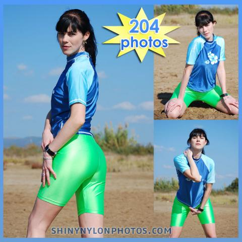 Green green Lycra shorts and blue lycra t-shirt