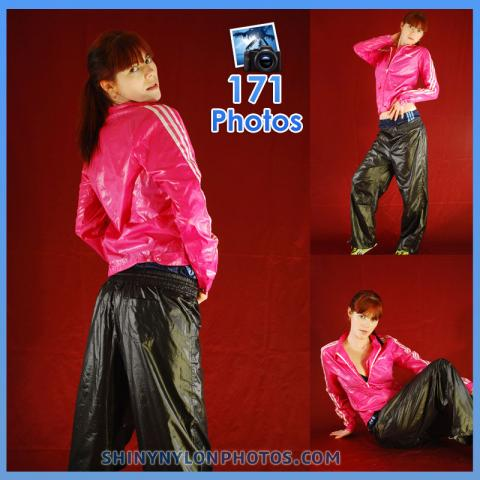 Shiny nylon black pant and pink jacket