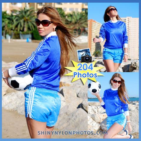 Light Blue adidas nylon shorts and blue t-shirt