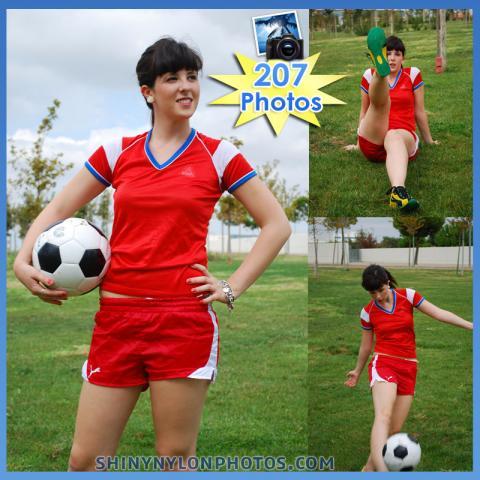 Red Puma nylon shorts