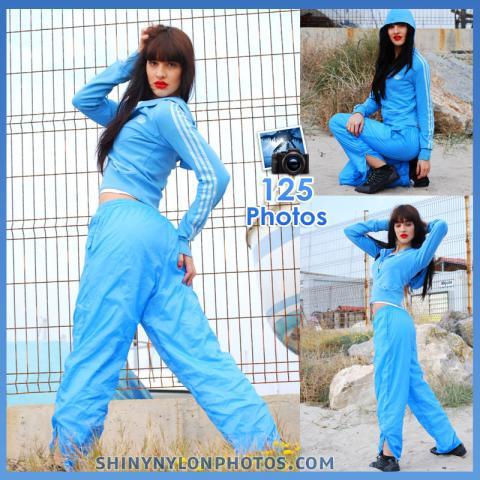 Light Blue nylon tracksuit pants