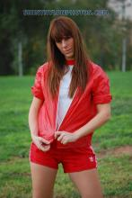 Red nylon shorts and red nylon jacket