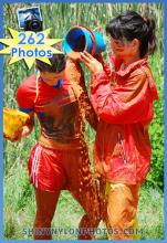 MUD PLAY IN NYLON RAIN CLOTHES AND SHINY NYLON SHORTS