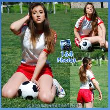 Red Adidas shiny nylon shorts and white t-shirt