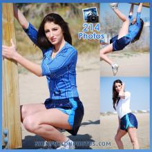 Dark Blue nylon Puma shorts and blue lycra t-shirt