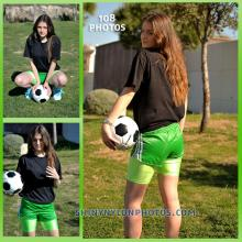 Green nylon shorts and green Lycra shorts