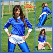 White nylon shorts and blue lycra leggings