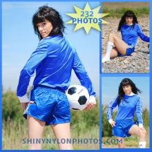 Blue adidas nylon shorts and blue soccer t-shirt