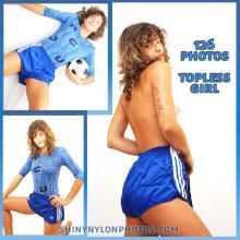 Blue nylon Sprinter shorts and blue lycra t-shirt.