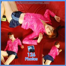 Shiny nylon darkblue shorts and pink jacket