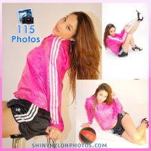 Shiny nylon black shorts and pink jacket