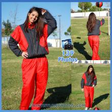 Red shiny nylon tracksuit