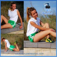 Green Adidas nylon shorts