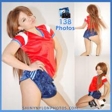 Shiny nylon darkblue shorts and red t-shirt