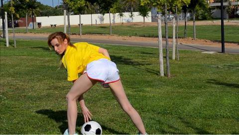 White adidas nylon shorts and yellow t-shirt