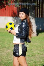 black sprinter shorts and black nylon jacket
