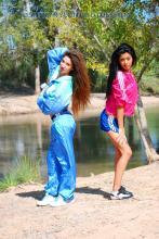 Blue adidas nylon shorts and light  blue tracksuit