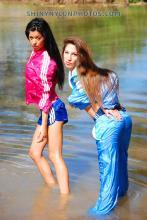 wetkook in Blue adidas nylon shorts and light blue tracksuit