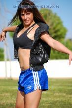 Blue adidas shiny nylon shorts
