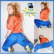 shiny nylon rainwear blue pants and orange jacket