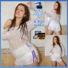 White adidas nylon shorts and white blouse