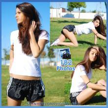 Black adidas nylon shorts and white t-shirt
