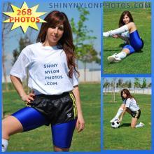 Black adidas nylon shorts and blue lycra/spandex shorts
