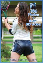 Black very shiny nylon shorts and blue shorts