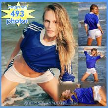 WETLOOK in white adidas nylon shorts