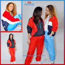 Light Blue and red nylon tracksuits